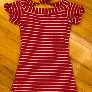 Windsor Red White Striped Top with Bow Tie Back